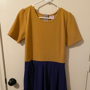 LuLaRoe mustard and blue Amelia pocket dress - L
